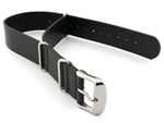 Leather NATO Watch Strap Band (3 rings) Black 18mm