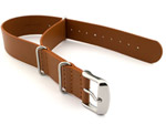 Leather NATO Watch Strap Band (3 rings) Brown(Tan) 24mm