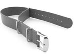 Leather NATO Watch Strap Band (3 rings) Grey 20mm