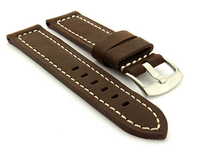 Leather Watch Band Panor Dark Brown 26mm