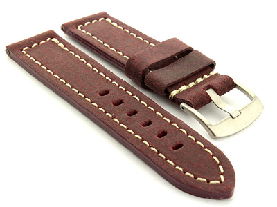 Leather Watch Band Panor Maroon 26mm