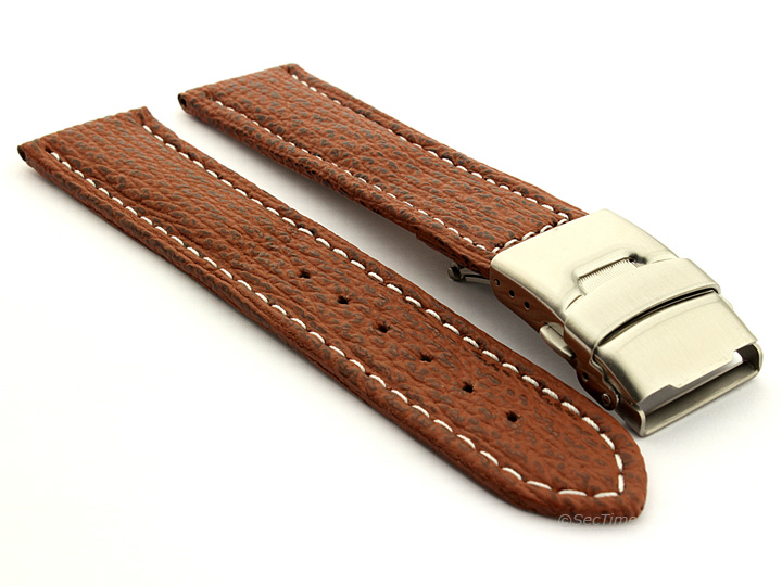 Genuine Shark Skin Watch Band with Deployment Clasp Brown 01