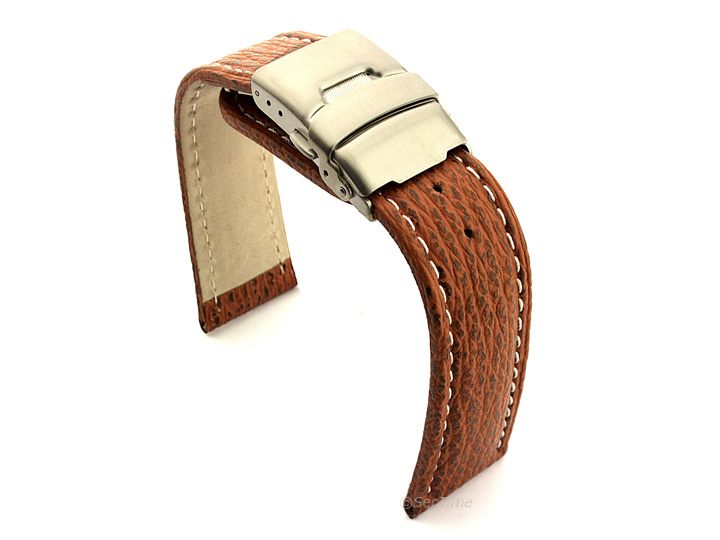 Genuine Shark Skin Watch Band with Deployment Clasp Brown 02