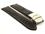 Genuine Shark Skin Watch Band with Deployment Clasp Black 20mm