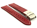 Genuine Shark Skin Watch Band with Deployment Clasp Red 20mm