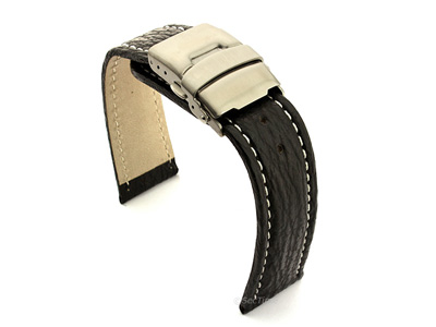 Genuine Shark Skin Watch Band with Deployment Clasp Black 02