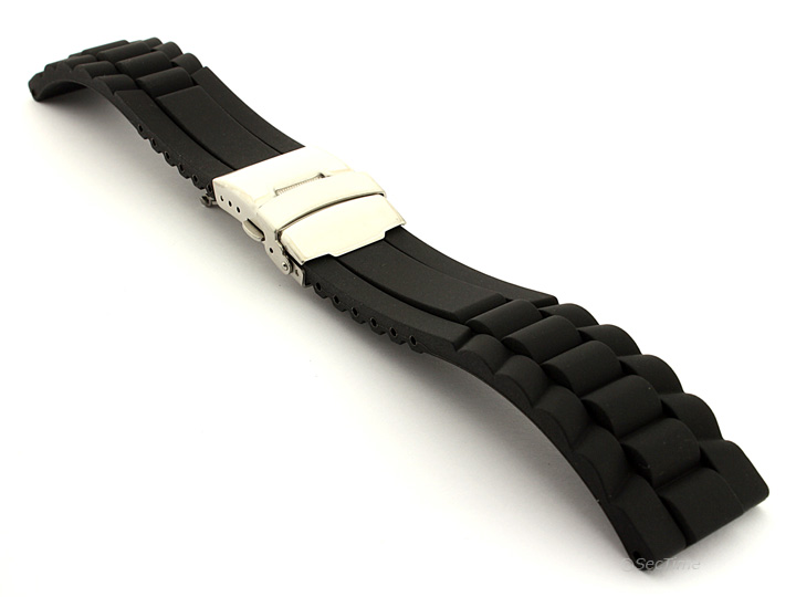 Mens Silicone Rubber Watch Strap Band Waterproof with Deployment Clasp GM