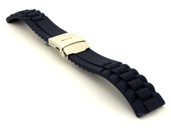 Silicone Watch Band with Deployment Clasp Navy Blue GM 01