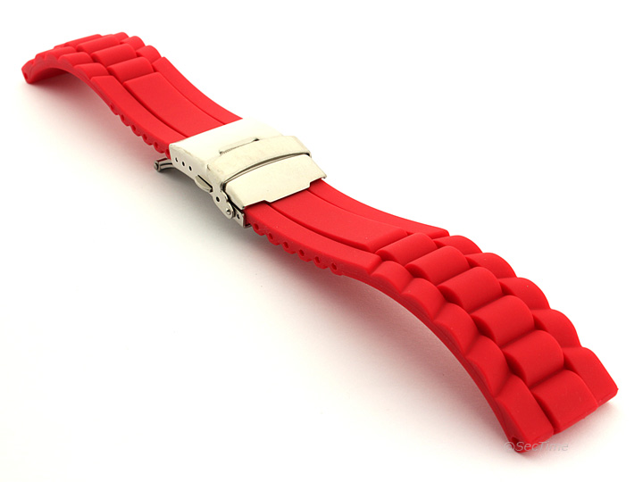 Silicone Watch Band with Deployment Clasp Red GM 01
