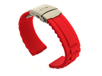 Silicone Watch Band with Deployment Clasp Red GM 02