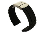 Silicone Watch Band with Deployment Clasp Black GM 02