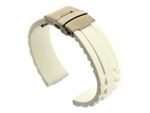 Silicone Watch Band GM with Deployment Clasp Waterproof White 20mm