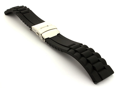 Silicone Watch Band with Deployment Clasp Black GM 01