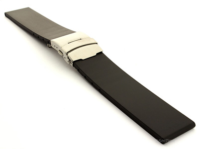 Silicone Watch Band with Deployment Clasp Black Tyre F1 02