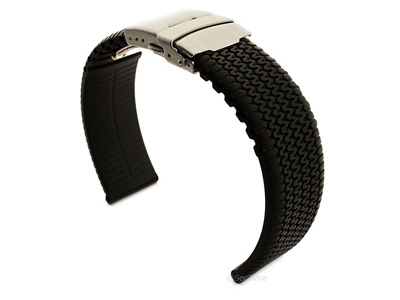 Silicone Watch Band with Deployment Clasp Black Tyre Summer 02