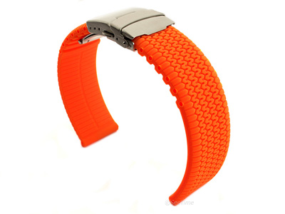 Silicone Watch Band with Deployment Clasp Orange Tyre Summer 02