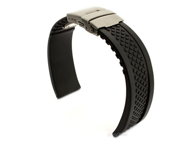 Silicone Watch Band with Deployment Clasp Black Tyre Winter 02