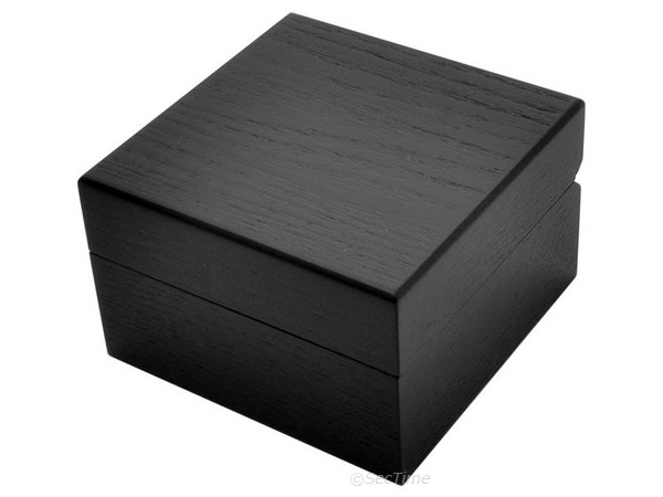 Classic Wooden Watch Box for 1 Wristwatch with Veluor Cushion - Black