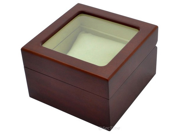 Classic Wooden Watch Box for 1 Wristwatch with Glass Lid Brown
