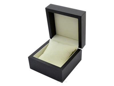 Classic Wooden Watch Box for 1 Wristwatch with Velour Cushion Black 02
