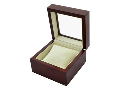 Classic Wooden Watch Box for 1 Wristwatch with Glass Lid Brown 02