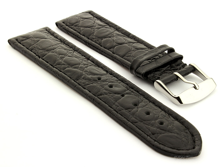 Leather Watch Strap in African Pattern Black 01