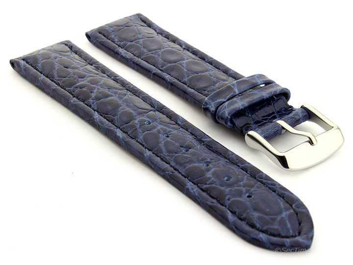Leather Watch Strap in African Pattern Blue 01