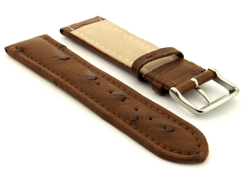 Genuine Ostrich Leather Watch Strap Amsterdam Dark Brown 02