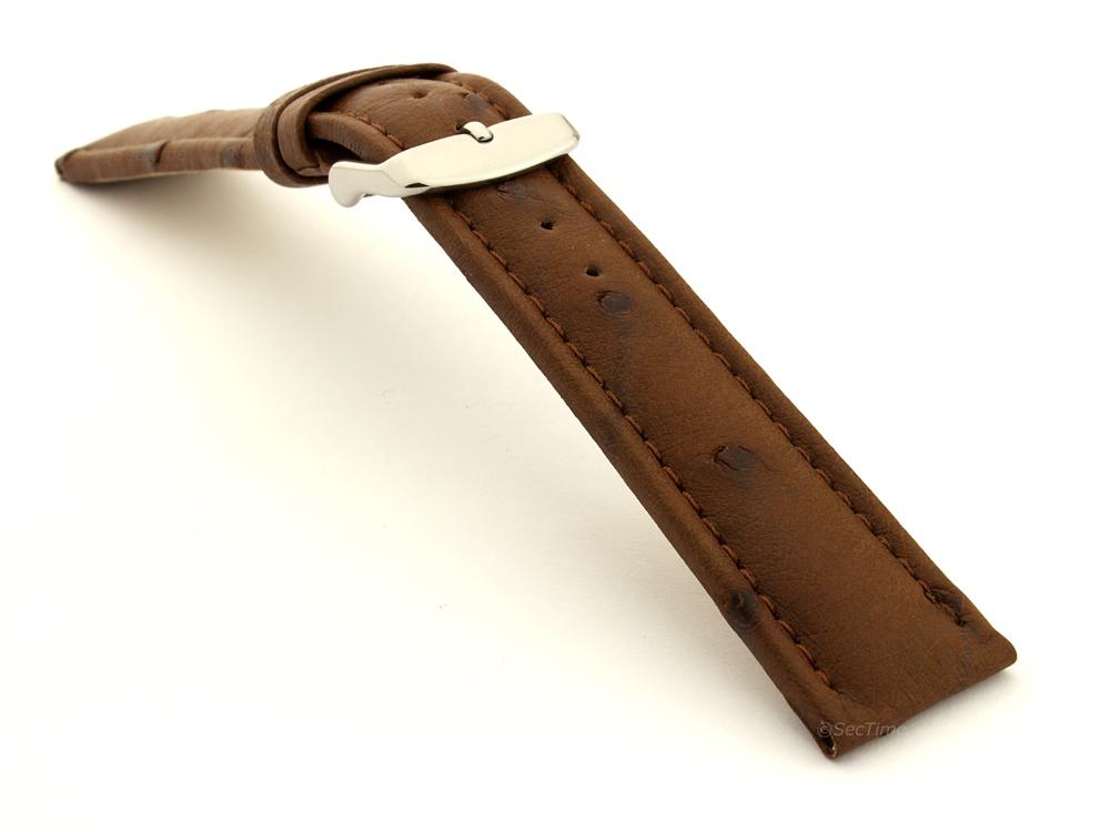 Genuine Ostrich Leather Watch Strap Amsterdam Dark Brown 03