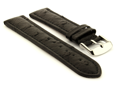 Genuine Ostrich Leather Watch Strap Amsterdam Black 24mm