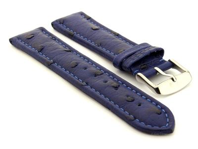 Genuine Ostrich Leather Watch Strap Amsterdam Blue 24mm