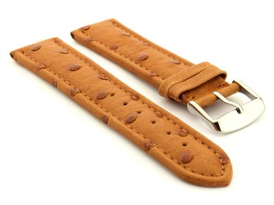 Genuine Ostrich Leather Watch Strap Amsterdam Brown 24mm