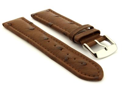 Genuine Ostrich Leather Watch Strap Amsterdam Dark Brown 01