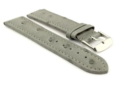 Genuine Ostrich Leather Watch Strap Amsterdam Grey 24mm