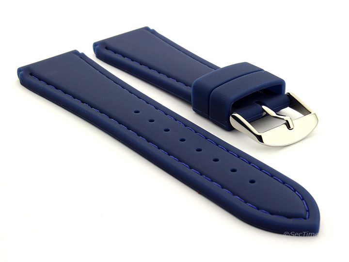 Notched Corners Silicone Watch Strap Blue with Blue Stitching Astro 01