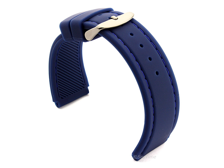 Notched Corners Silicone Watch Strap Blue with Blue Stitching Astro 02