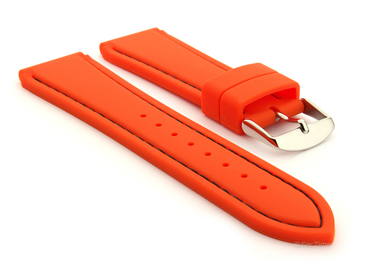 Notched Corners Silicone Watch Strap Orange with Black Stitching Astro 01