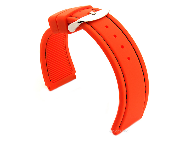 Notched Corners Silicone Watch Strap Orange with Black Stitching Astro 02