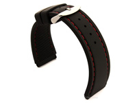 Notched Corners Silicone Watch Strap Black with Red Stitching Astro 02