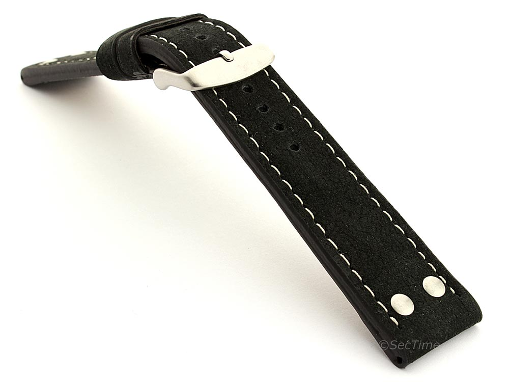 Extra Short Genuine Leather Watch Strap Band in Aviator Style Black 02