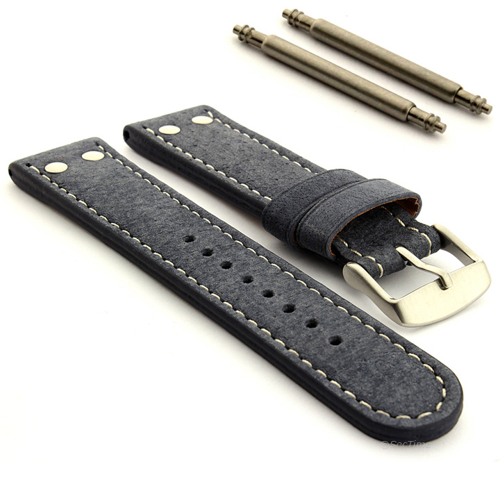 Mens Riveted Suede Genuine Leather Military Watch Strap Band in Aviator Style