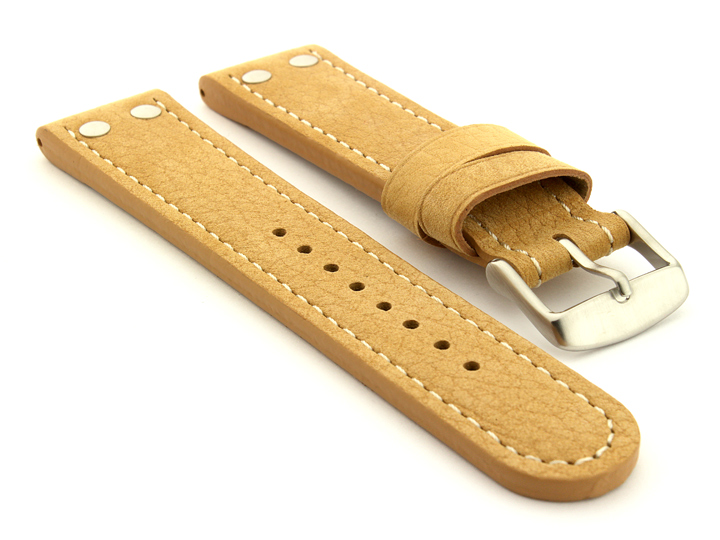 Riveted Suede Leather Watch Strap in Aviator Style Light Brown 01