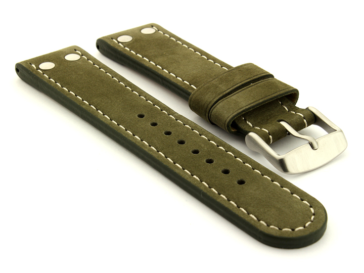 Riveted Suede Leather Watch Strap in Aviator Style Olive Green 01