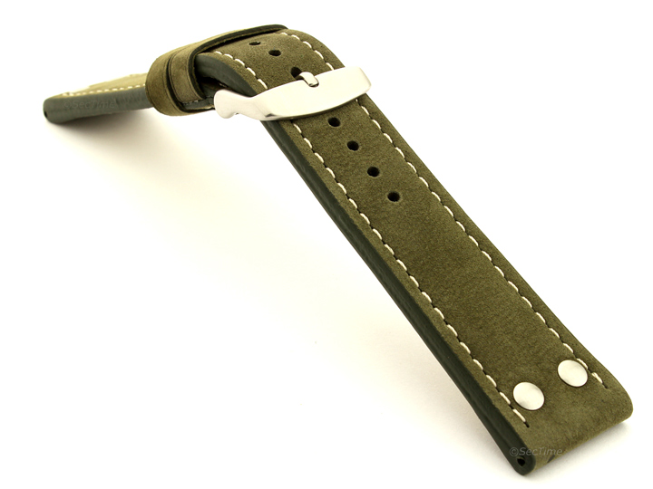 Riveted Suede Leather Watch Strap in Aviator Style Olive Green 02