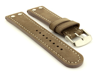 Riveted Suede Leather Watch Strap in Aviator Style Coyote Brown 01