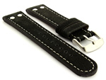 Riveted Suede Leather Watch Strap in Aviator Style Black 01