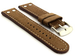 Riveted Suede Leather Watch Strap in Aviator Style Brown 22mm