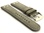 Riveted Suede Leather Watch Strap in Aviator Style Grey 22mm