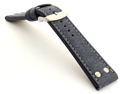 Riveted Suede Leather Watch Strap in Aviator Style Blue 22mm