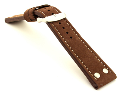 Riveted Suede Leather Watch Strap in Aviator Style Cocoa 22mm